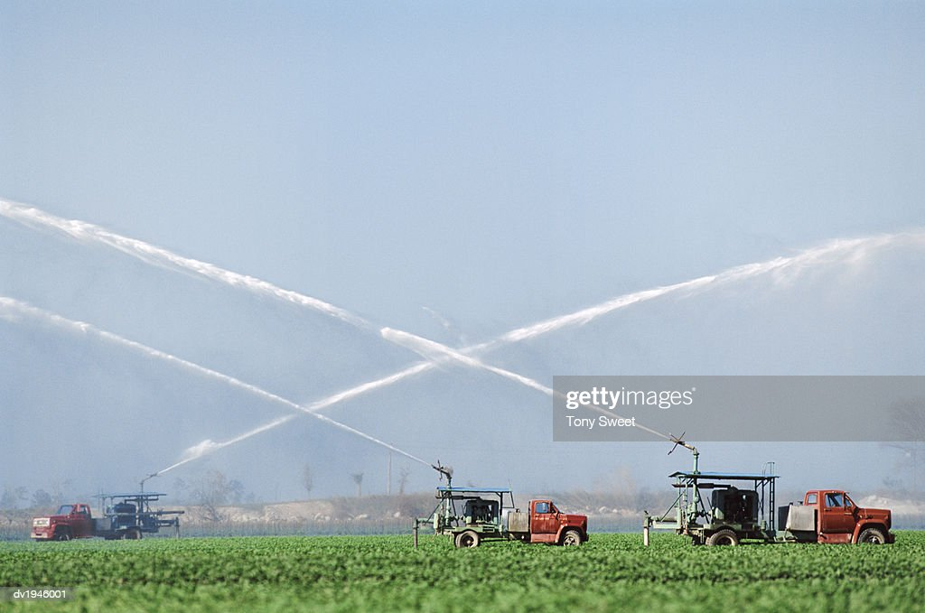 Water Trucks Irrigate Crops in the Everglades, Florida, USA : Stock Photo