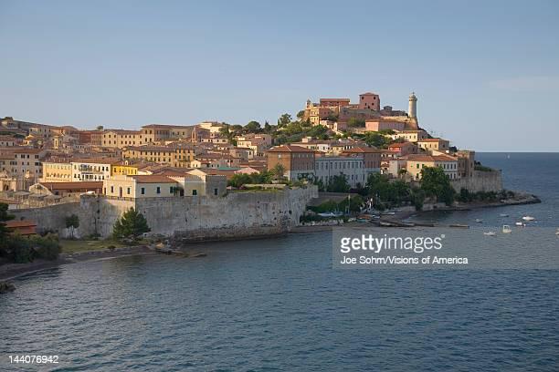 Water view of Portoferraio, Province of Livorno, on the island of Elba in the Tuscan Archipelago of Italy, Europe, where Napoleon Bonaparte was...