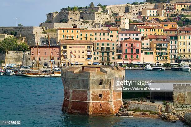 Water view of Torre della Linguell Portoferraio Province of Livorno on the island of Elba in the Tuscan Archipelago of Italy Europe where Napoleon...
