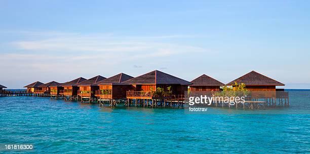 water village on mabul island, sipadan, borneo malaysia - mabul island stock photos and pictures