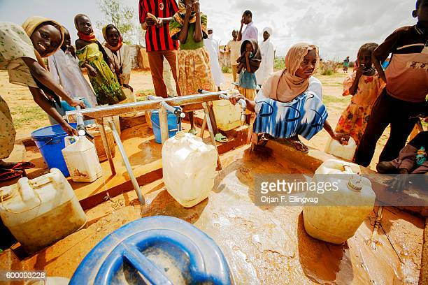 A water well in a refugee camp in Touloum in Tchad close to the sudanese border More than 23000 refugees from Darfur mainly women and children live...
