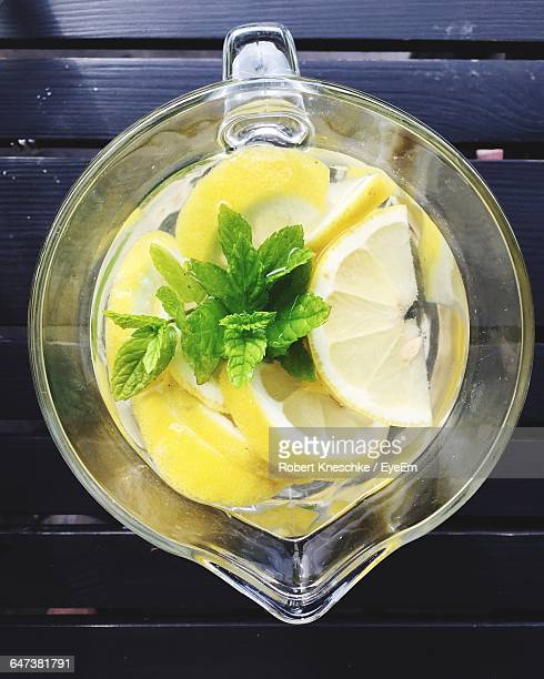 Water With Lemon Slices And Mint In Jar
