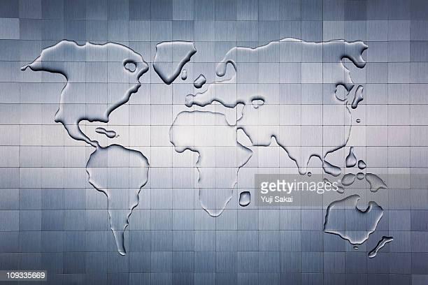 Water world map  on metal board