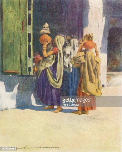'Watercarriers at Nutha' 1905 From India by Mortimer Menpes Text by Flora A Steel [Adam Charles Black London 1905] Artist Mortimer Luddington Menpes