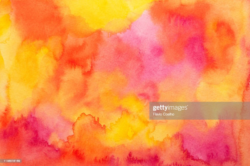 Watercolor background in yellow, red, orange and pink tones : Stock-Foto