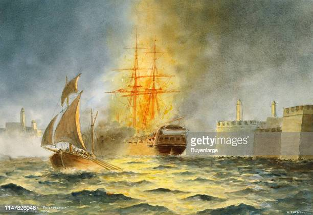 Watercolor by Commander Eric C C Tufnell of the burning of the frigate USS Philadelphia on February 16th 1804 Burning of the Philadelphia