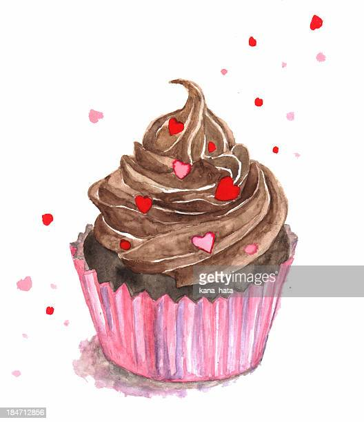 watercolor chocolate cupcake