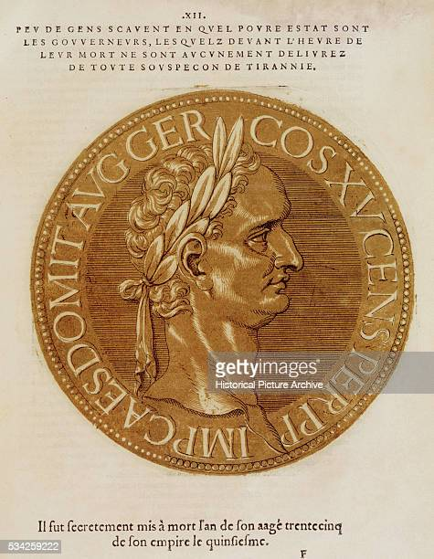 Watercolor of Coin with Profile of Roman Emperor