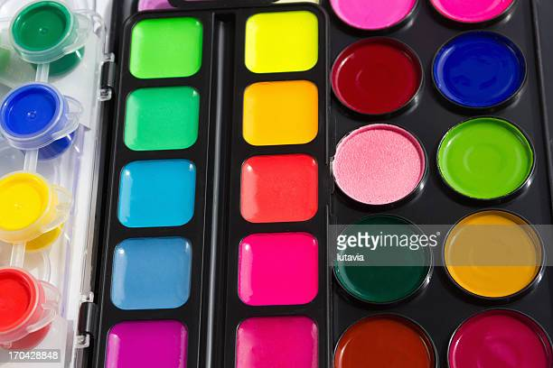 watercolor paint in containers - lutavia stock pictures, royalty-free photos & images