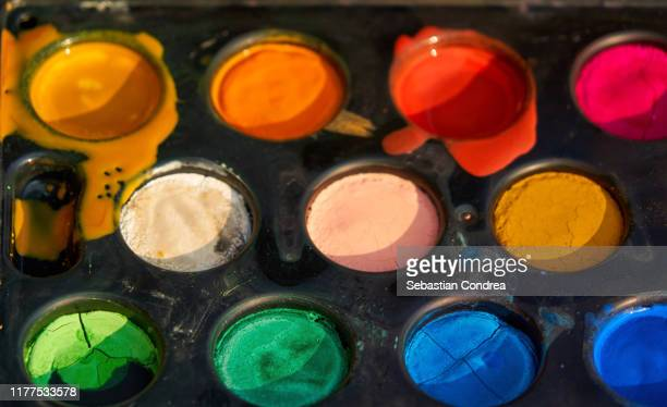 watercolor paintbox, face painting process. - tempera painting stock pictures, royalty-free photos & images