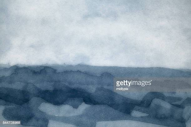 Watercolor Painting Backgrounds Storm Sea Fog