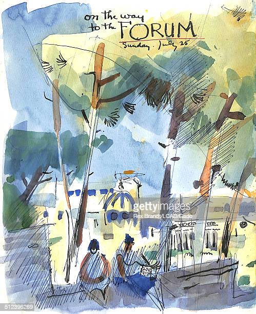 Watercolor painting entitled 'On the Way to the Forum' shows two women at a Roman forum Rome Italy July 25 1965 Brandt was a cubist and member of the...