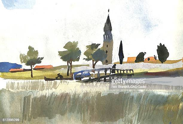 Watercolor painting of a bridge over a Venetian Lagoon Burano Venice Italy July 19 1965 Brandt was a cubist and member of the California Watercolor...