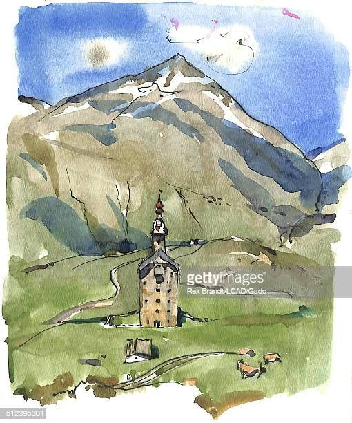 Watercolor painting of a church in a field at the foot of a mountain Zermatt Switzerland June 1965 Brandt was a cubist and member of the California...