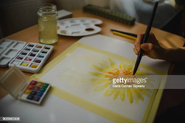 Watercolor painting of a sunflower