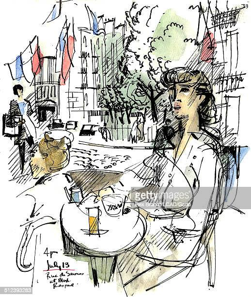 Watercolor painting of a woman at a table at a sidewalk cafe at Rue De Sevres Paris France July 13 1965 Brandt was a cubist and member of the...