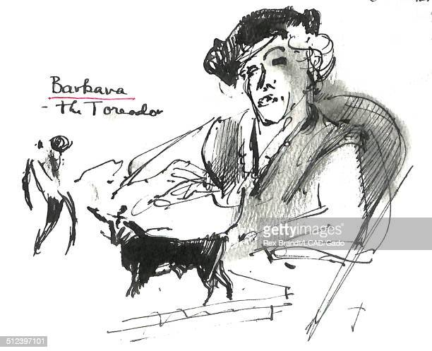 Watercolor painting of a woman identified as 'Barbara the Toreador' as well as small images of a toreador and a bull Madrid Spain July 1965 Brandt...