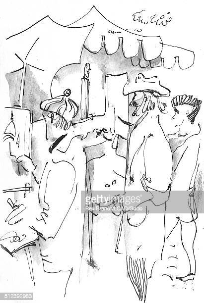 Watercolor painting of artists painting on canvases at Place de la Tetre Montmartre Paris France July 15 1965 Brandt was a cubist and member of the...
