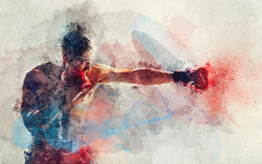 Watercolor painting of boxer striking a blow 1043715004