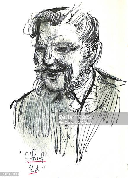 Watercolor painting of 'Chief Ed' Madrid Spain July 29 1965 Brandt was a cubist and member of the California Watercolor movement