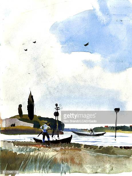 Watercolor painting of fishermen at Venetian Lagoon Burano Venice Italy July 19 1965 Brandt was a cubist and member of the California Watercolor...