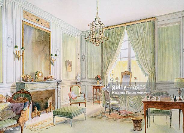 Watercolor Painting of French Interior by Georges Remon