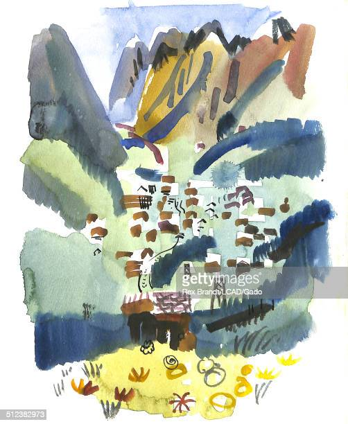 Watercolor painting of mountains and houses Zermatt Switzerland June 25 1965 Brandt was a cubist and member of the California Watercolor movement