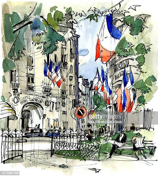 Watercolor painting of people in a park near the Hotel Lutetia Paris France July 13 1965 Brandt was a cubist and member of the California Watercolor...