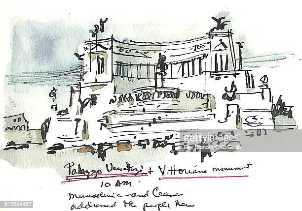 Watercolor painting of the Altare della Patria monument Rome Italy July 1965 Brandt was a cubist and member of the California Watercolor movement