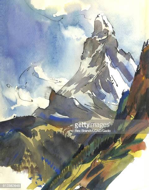 Watercolor painting of the Matterhorn mountain Zermatt Switzerland June 25 1965 Brandt was a cubist and member of the California Watercolor movement