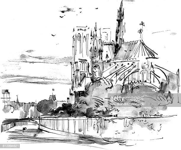 Watercolor painting of the Notre Dame de Paris cathedral and Seine River at Ile de La Cite Paris France July 15 1965 Brandt was a cubist and member...