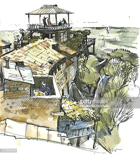 Watercolor painting of the ocean across the roofs of houses Monteggiori Italy July 21 1965 Brandt was a cubist and member of the California...