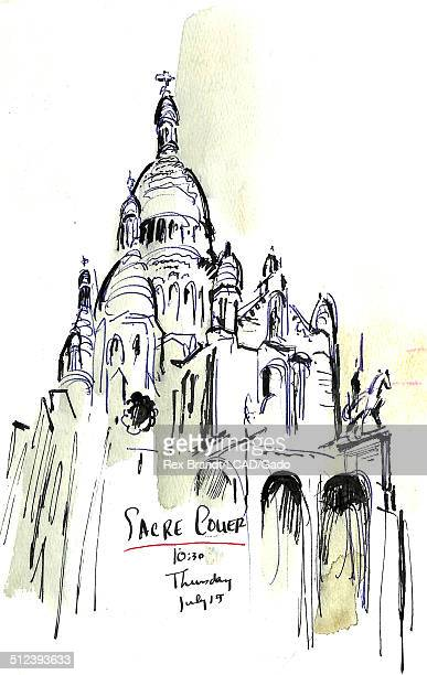 Watercolor painting of the Sacre Coeur Basilica Paris France July 15 1965 Brandt was a cubist and member of the California Watercolor movement