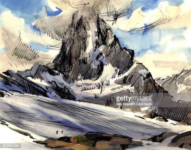 Watercolor painting of the the Matterhorn mountain June 1965 Brandt was a cubist and member of the California Watercolor movement