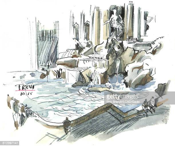 Watercolor painting of the Trevi Fountain Rome Italy July 1965 Brandt was a cubist and member of the California Watercolor movement
