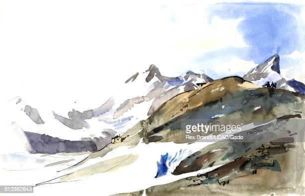 Watercolor painting of the Trockener Steg mountain Zermatt Switzerland June 25 1965 Brandt was a cubist and member of the California Watercolor...