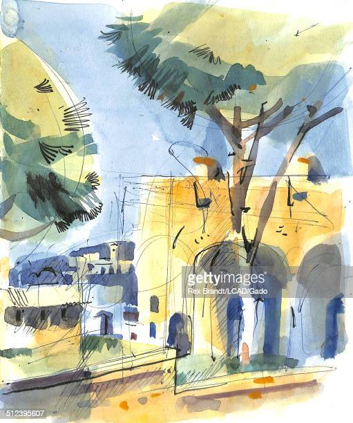 Watercolor painting shows a Roman forum Rome Italy July 25 1965 Brandt was a cubist and member of the California Watercolor movement