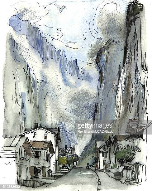 Watercolor painting shows a street bordered by houses and beyond them mountains Lauterbrunnen Switzerland June 27 1965 Brandt was a cubist and member...