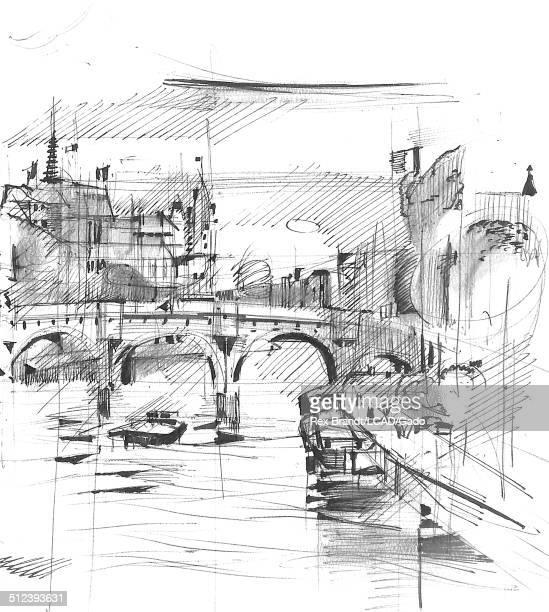 Watercolor painting shows a view along the Seine River at Ile de La Cite Paris France July 14 1965 Brandt was a cubist and member of the California...