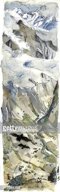 Watercolor painting shows an aerial view of Trummelbach Falls Switzerland June 27 1965 Brandt was a cubist and member of the California Watercolor...