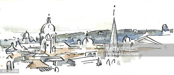 Watercolor painting shows roofs and spires Rome Italy July 1965 Brandt was a cubist and member of the California Watercolor movement