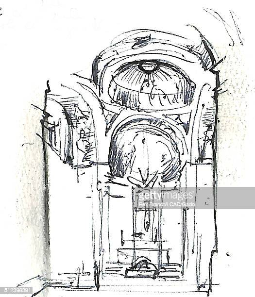 Watercolor painting shows the interior of the Royal Chapel of St Anthony of La Florida Madrid Spain July 1965 Brandt was a cubist and member of the...