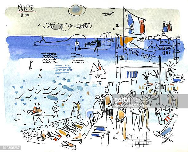 Watercolor painting shows tourists at a crowded beach Nice France July 1965 Brandt was a cubist and member of the California Watercolor movement