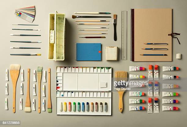 watercolor painting supplies shot knolling style. - art and craft equipment stock pictures, royalty-free photos & images