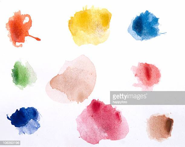 watercolor paints on a white piece of paper ready to use - spotted stock pictures, royalty-free photos & images