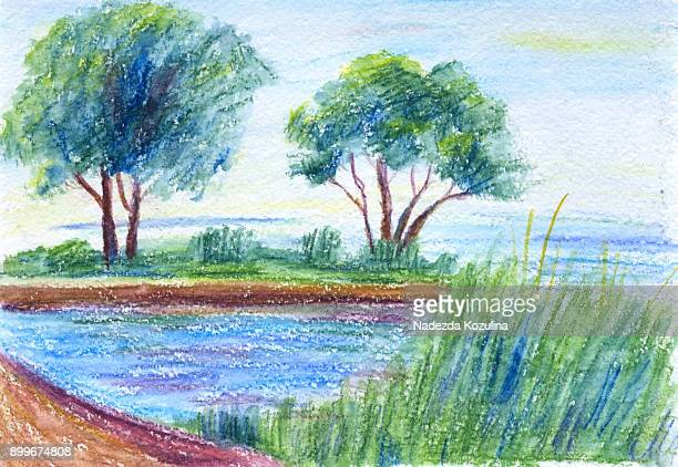 Watercolor pencils on paper landscape in Nida, Lithuania