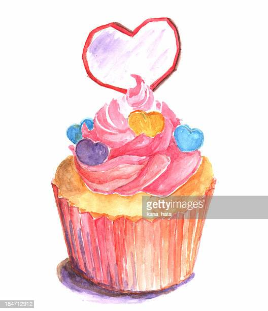 watercolor pink and hearts cupcake