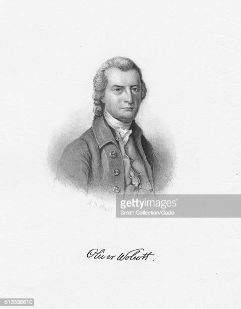 Watercolor portrait of Oliver Wolcott signer of the United States Declaration of Independence and also the Articles of Confederation as a...
