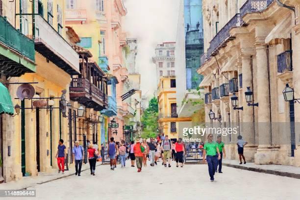 オールド・ハバナで撮影された、人々との街頭シーンを描いた水彩画加工写真。 - ハバナ ストックフォトと画像