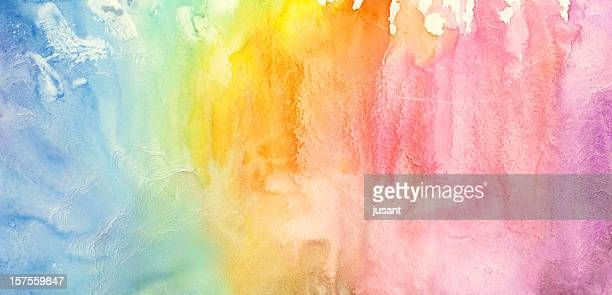 watercolor rainbow painting - rainbow stock pictures, royalty-free photos & images